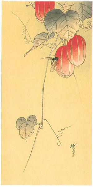 河鍋暁翠: Bee and Red Fruits - Artelino