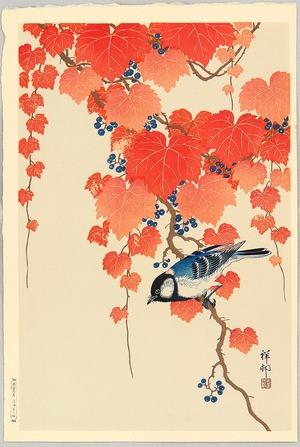 Ohara Koson: Bird and Red Ivy - Artelino