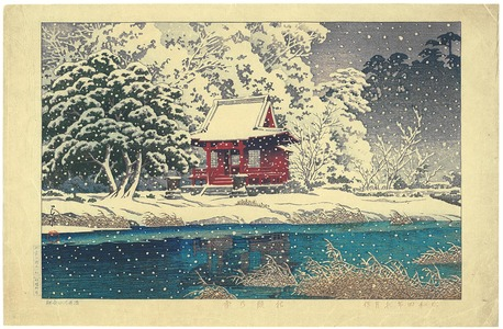 川瀬巴水: Snow at a Shrine Entrance - Artelino