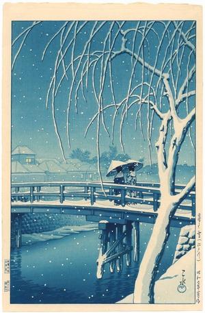 川瀬巴水: Evening Snow, Edo River - Blue Version - Artelino