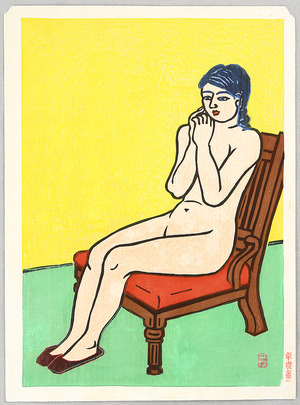 Hiratsuka Unichi: Nude on a Red Chair - Artelino