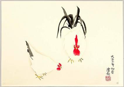 小林清親: Rooster and Hen - Artelino