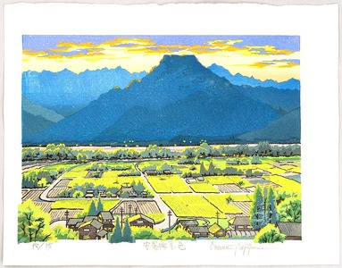 Morozumi Osamu: Azumino Village in Twilight - Japan - Artelino