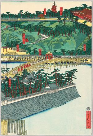 歌川貞秀: Emperor Travels to Hachiman Shrine - Artelino