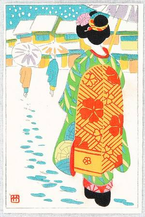 Fujishima Takeji: Maiko in Snow - Artelino