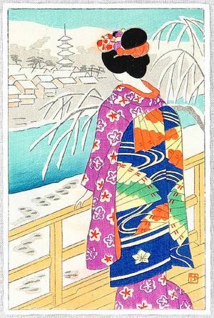Fujishima Takeji: Maiko on Veranda - Artelino