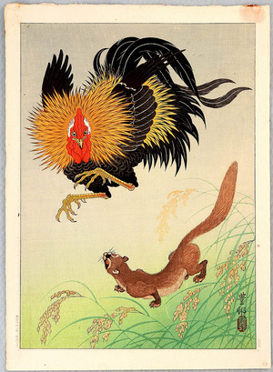 Ohara Koson: Rooster and Weasel - Artelino
