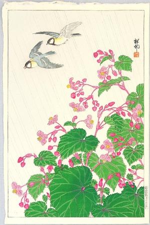 Ohara Koson: Two Birds and Begonia in Rain - Artelino