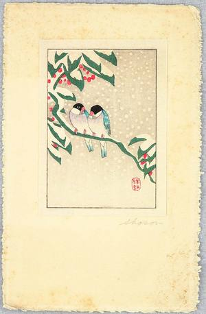 小原古邨: Bluebirds on a Snowy Branch - Artelino