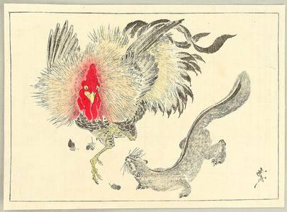 河鍋暁斎: Rooster and Weasel - Kyosai Gafu - Artelino