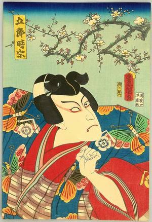歌川国貞: Hero in Butterfly Kimono - Kabuki - Artelino