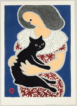 Sasajima Kihei: Woman and Black Cat - Artelino