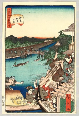 Utagawa Hirokage: Humorous Scene at Ferry Station - Edo Meisho Douke Zukushi - Artelino