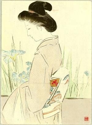 梶田半古: Beauty and Irises - Artelino