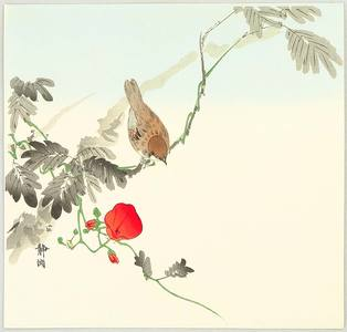 静湖: Sparrow and Red Flower - Artelino