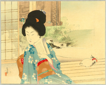 水野年方: Beauty and Cat on Balcony - Artelino