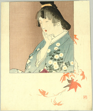 梶田半古: Girl and Maple Leaves - Artelino
