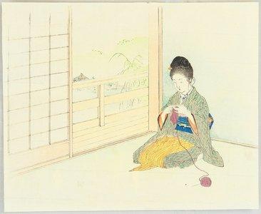 梶田半古: Knitting in a Room - Artelino