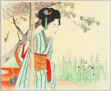 Mizuno Toshikata: Girl in Iris Garden - Artelino