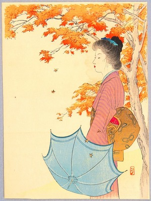 Takeuchi Keishu: Bijin and Maple Tree - Artelino