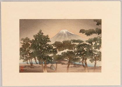 月岡耕漁: Mt. Fuji and Pine Beach - Artelino