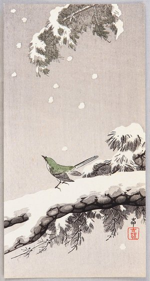 Ohara Koson: Bush Warbler in Winter - Artelino