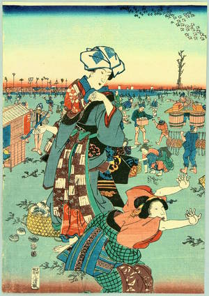 Utagawa Sadahide: Hunting for Clams on a Beach - Artelino