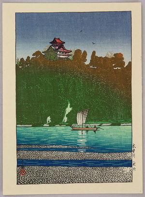 川瀬巴水: Kiso River - Inuyama Castle - Artelino