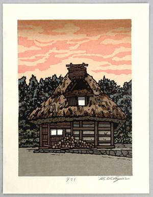 Nishijima Katsuyuki: Thatched Roof House at Sunset - Artelino