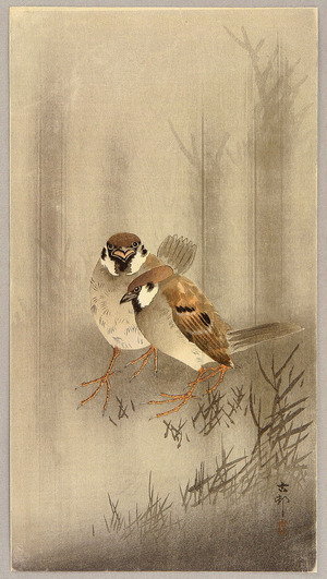 小原古邨: Two Sparrows - Artelino