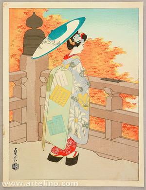 Hasegawa Sadanobu III: Autumn Maple Leaves of Kiyomizu Temple - Maiko in Four Seasons of Kyoto Geisha Girls - Artelino