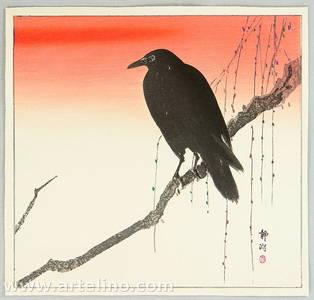 静湖: Crow on a Snowy Branch - Artelino