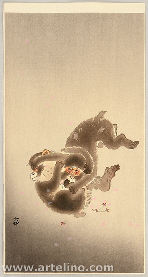 Ohara Koson: Playing Monkeys - Artelino