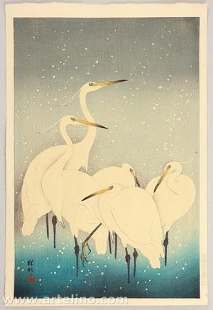 Ohara Koson: Egrets on a Snowy Night - Artelino