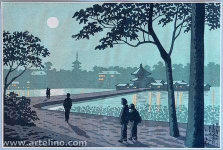 Fujishima Takeji: Shinobazu Pond in Moonlight - Famous Places in Tokyo - Artelino