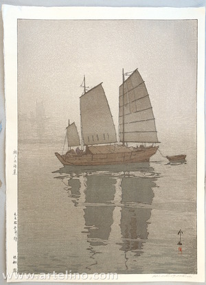 Yoshida Hiroshi: Sailing Boats in the Mist - Inland Sea - Artelino