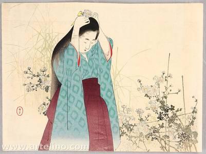 Mizuno Toshikata: Kuchi-e : Chrysanthemums - Artelino