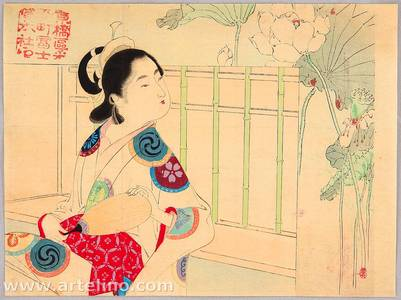 Mizuno Toshikata: Beauty and Lotus Flowers - Artelino