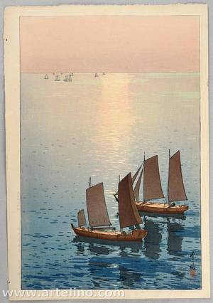 Yoshida Hiroshi: Sailing Boats on the Sea - Artelino