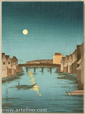 小林清親: Full Moon at Nihonbashi bridge - Artelino