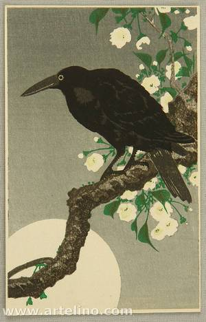 Ohara Koson: Crow and Full Moon - Artelino