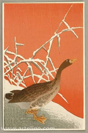 Ohara Koson: Wild Goose on Snow - Artelino