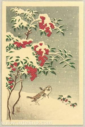 Ohara Koson: Sparrows in Snow - Artelino