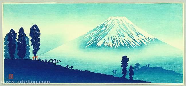 高橋弘明: Mt. Fuji and Red Torii - Blue Colored Variant - Artelino