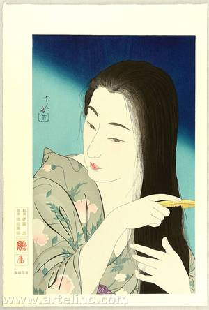 鳥居言人: Combing Her Hair - Twelve Aspects of Women - Artelino
