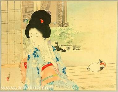 Mizuno Toshikata: Beauty and Cat on Balcony - Artelino