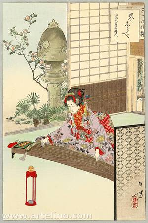 Mizuno Toshikata: Playing Koto - Thirty-six Selected Beauties - Artelino