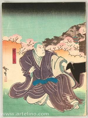 歌川広貞: Kabuki Scene - Princess and Priest - Artelino