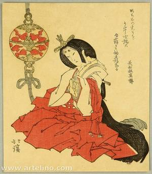 魚屋北渓: Beauty in Shinto Costume - Artelino