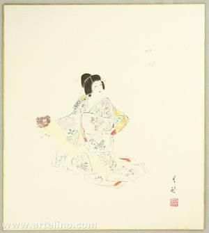 Gekko Ohashi: Court Lady Yayoi and Butterflies - Kabuki - Artelino